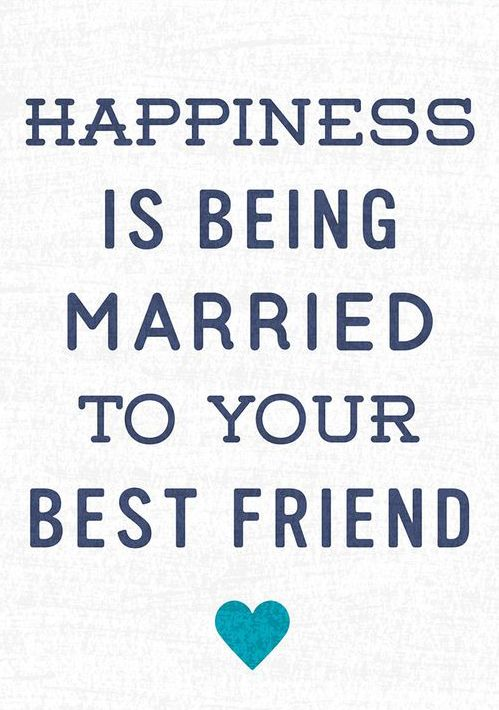"""Happiness is being married to your best friend"" - love art print; love quote; marriage quote"