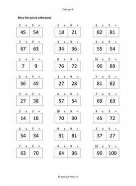 Dit werkblad en nog veel meer in de categorie rekenen - tafel van 9 kun je…