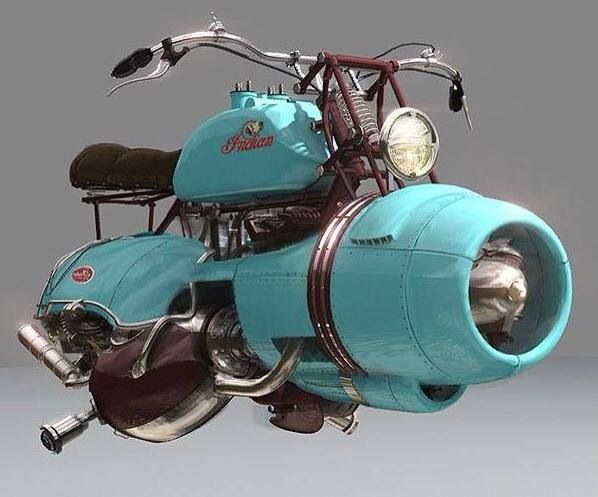 indian jet engine hover bike. (I STILL want a Jetson's vehicle, but this is almost as cool. :)