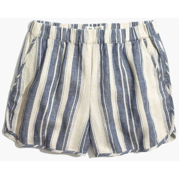 MADEWELL Pull-On Shorts in Indigo Stripe ($60) ❤ liked on Polyvore featuring shorts, natural stripe, pull on shorts, pocket shorts, cut off shorts, cut-off shorts and madewell shorts