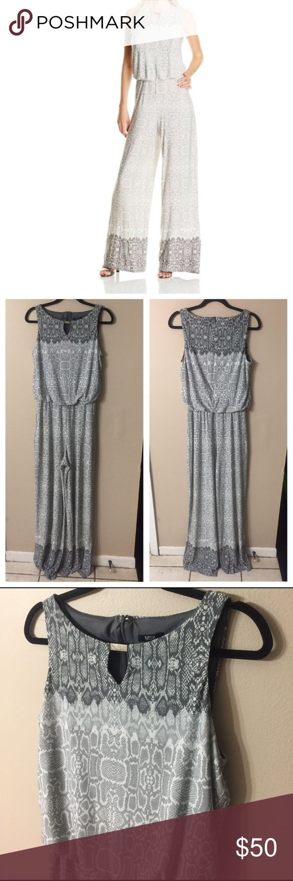 """MSK Sleeveless Animal Print Jumpsuit EUC!! Gorgeous blouson style jumpsuit with keyhole neckline and silver tone hardware at collar. Jumpsuit features elastic at waist, zip back, & wide leg. Laid flat chest measures 18"""", waist measures 13"""" (unstretched elastic,) inseam is 33.5"""", and leg opening is 14.5"""" laid flat. Some scuffs on hardware, barely noticeable, shown in 4th picture. MSK Pants Jumpsuits & Rompers"""