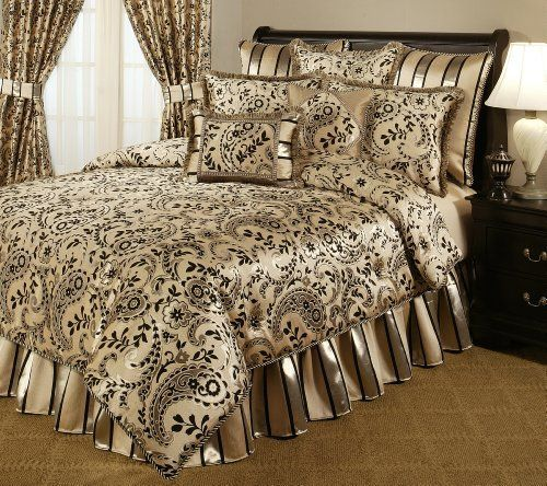 Austin Horn Classics 4-Piece Savona Bedding Collection, Californian King by Austin Horn Classics. $465.46. Dry clean recommended. Cal king dimension:  comforter 108 by 96  bedskirt 72 by 84 + 18-inchch drop  2 king shams 20 by 36. 67-percent polyester and 33-percent viscose. A rich jacquard, in metallic platinum and black color combinations is mixed with matching silk custom trims.  The gathered bed skirt is a matching stripe pattern with an 18 inch drop.  • U...