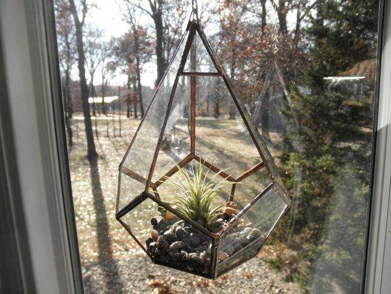 Hanging Glass Terrarium by SandhillShores on Etsy, $44.00