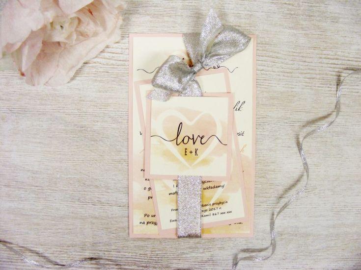 Zaproszenia ślubne róż akwarelowy,duże, z kopertą