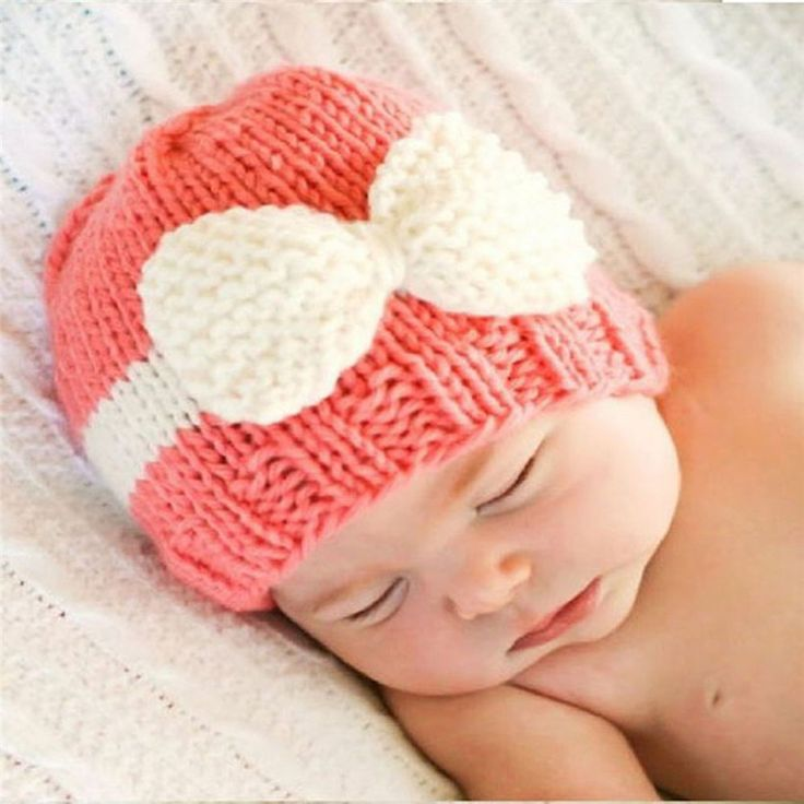 Knitted bow beanies