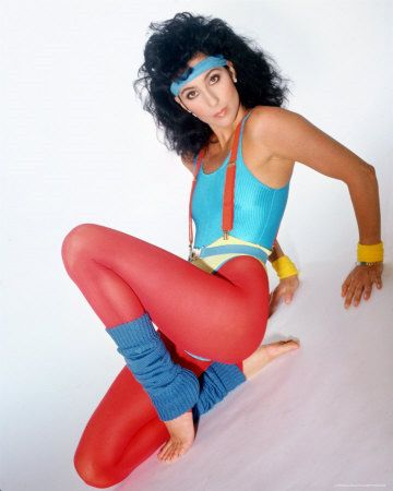 Cher in 80s aerobics gear one of the more popular gym styles thanks to Jane Fonda: