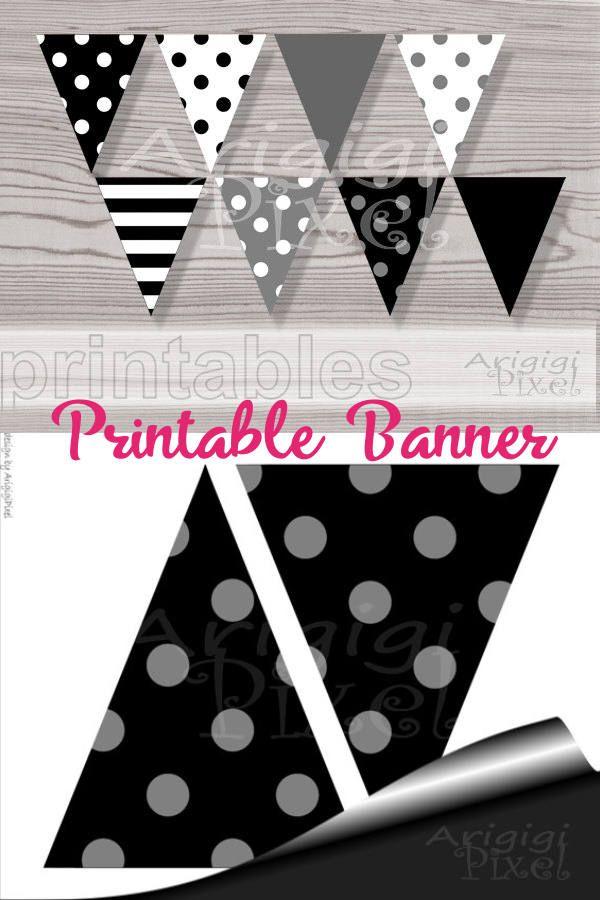 Printable Black White Banner Flags Polka Dot Pennants Diy Etsy Diy Party Decorations Diy Party Flag Diy