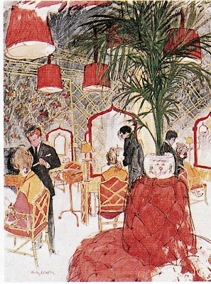 Kenneth's hair salon; illustrated by Henry Kohler for Vogue 1963: Hair Salons, Salons Rouge, Henry Kohler, Baldwindecor Hair, Decor Salons, Battell Billy, Style Court, Baldwin Decor Hair, Billy Baldwin