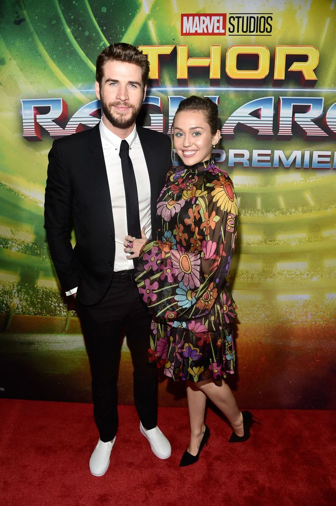 Liam Hemsworth & Miley Cyrus attend the World Premiere of Marvel's 'Thor Ragnarok'