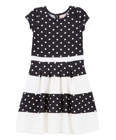 Black Polka Dot Fleet Dress - Toddler & Girls
