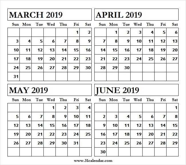 Printable March To June 2019 Calendar June 2019 Calendar