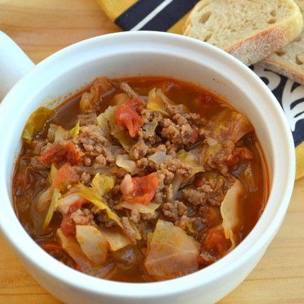 Healthy, quick cooking soup with hamburger and tender cabbage.