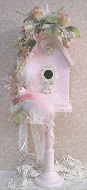 Shabby chic birdhouse beautiful pastel pink  A must do project that'll be fun and totally worth the time #shabbychiccrafts