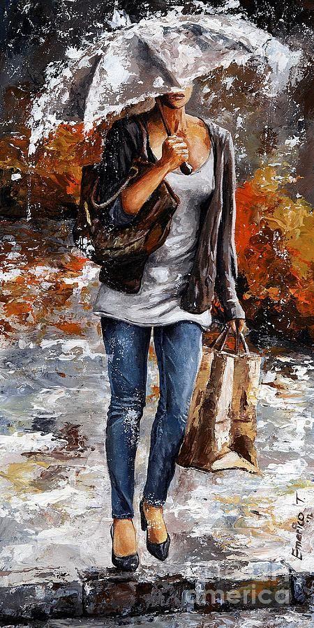 Rain Painting - Rainy Day - Woman Of New York 06 by Emerico Imre Toth