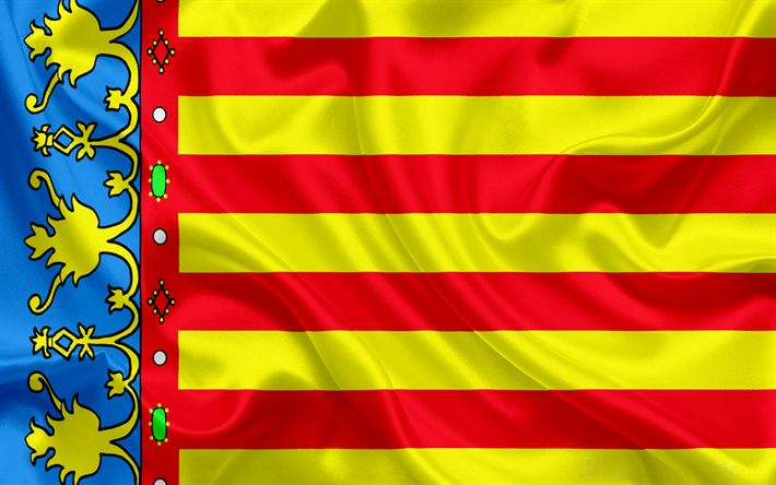 Download wallpapers flag of Valencia, Valencian Community, Spain, symbols