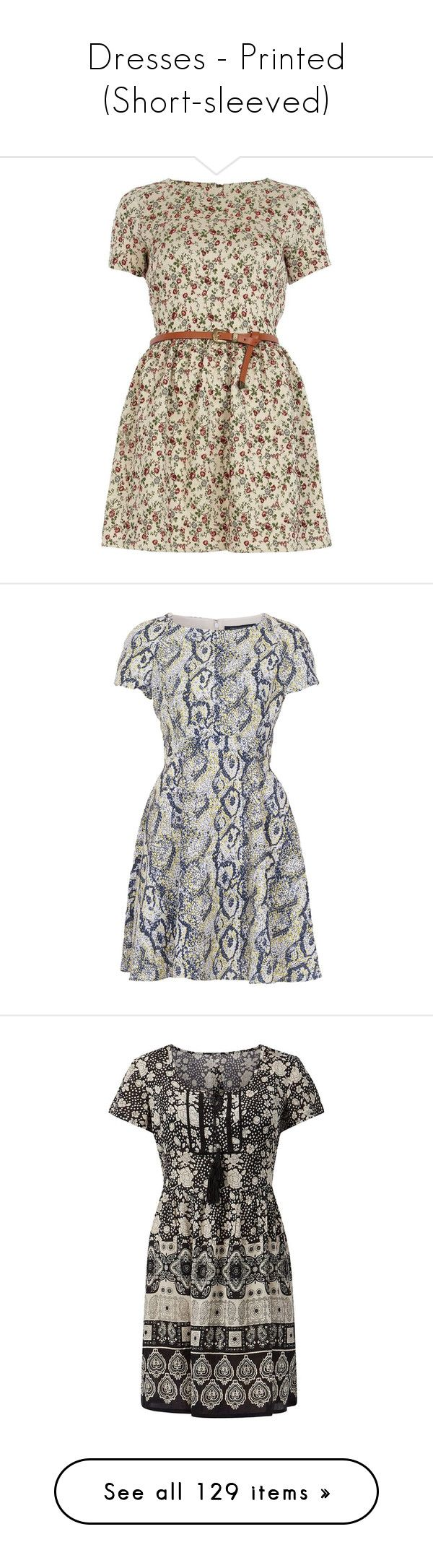 """Dresses - Printed (Short-sleeved)"" by giovanna1995 ❤ liked on Polyvore featuring dresses, vestidos, robes, vestiti, short sleeve dress, floral dresses, floral skater dresses, cream floral dress, short sleeve floral dress and long-sleeve fit and flare dresses"