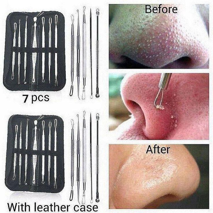 7pcs Blackhead Whitehead Pimple Acne Blemish Extractor Remover Tool Set