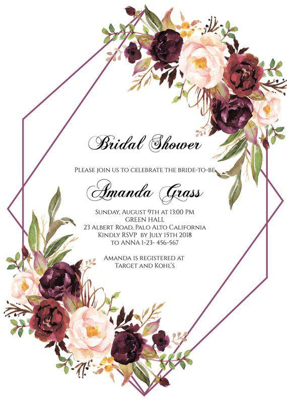 Burgundy Bridal Shower Invitation Instant Download Floral Bridal S Floral Wedding Invitations Bridal Shower Invitations Printable Wedding Invitation Templates