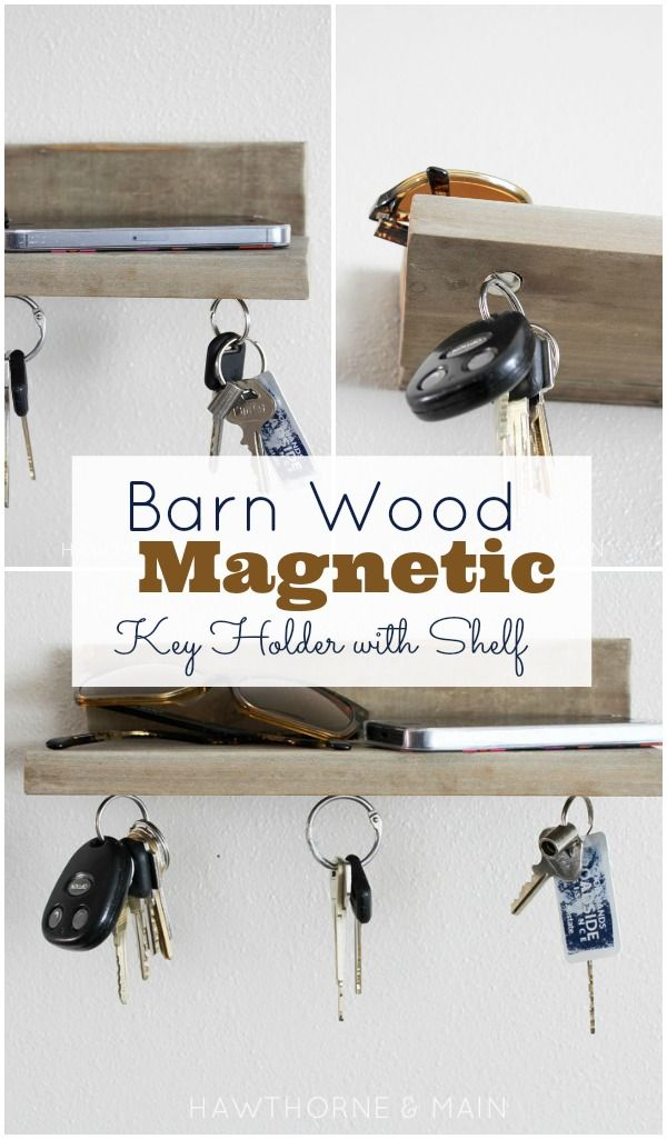 Barn Wood Magnetic Key Holder with Weatherwood Stains via Hawthorne and Main