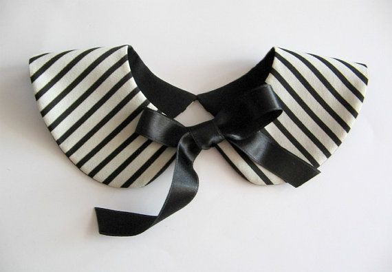 Sailor Style Black and White Stripe Detachable Collar