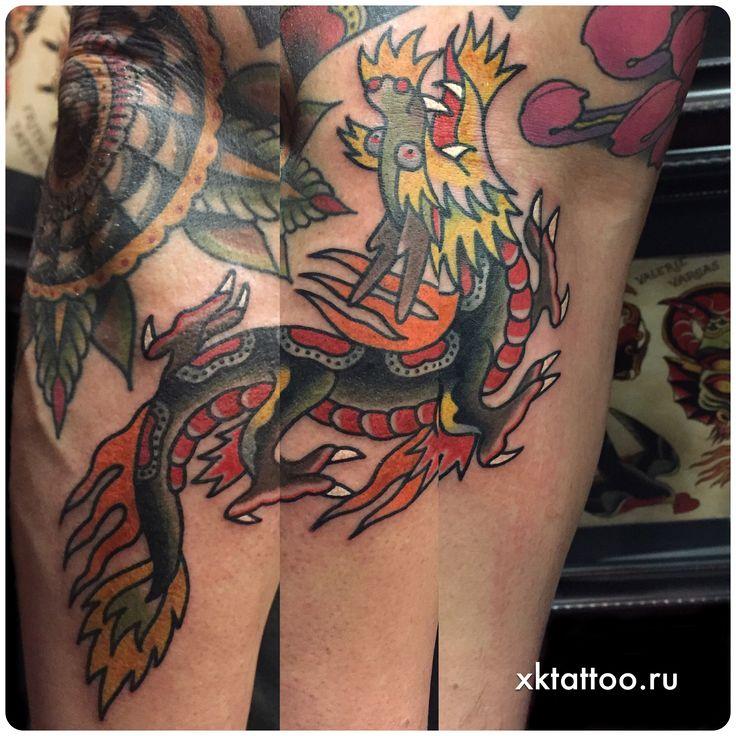 real traditional tattoo dragon , classic tattoo dragon , old school tattoo dragon, dragon tattoo design, prisoner tattoo, arm tattoo, Color tattoo. Цветная традиционная татуировка дракон на руке, тату студия Дмитрия Речного, Tattoo by Dmitry Rechnoy (Re4noy). XKtattoo studio. http://www.xktattoo.ru