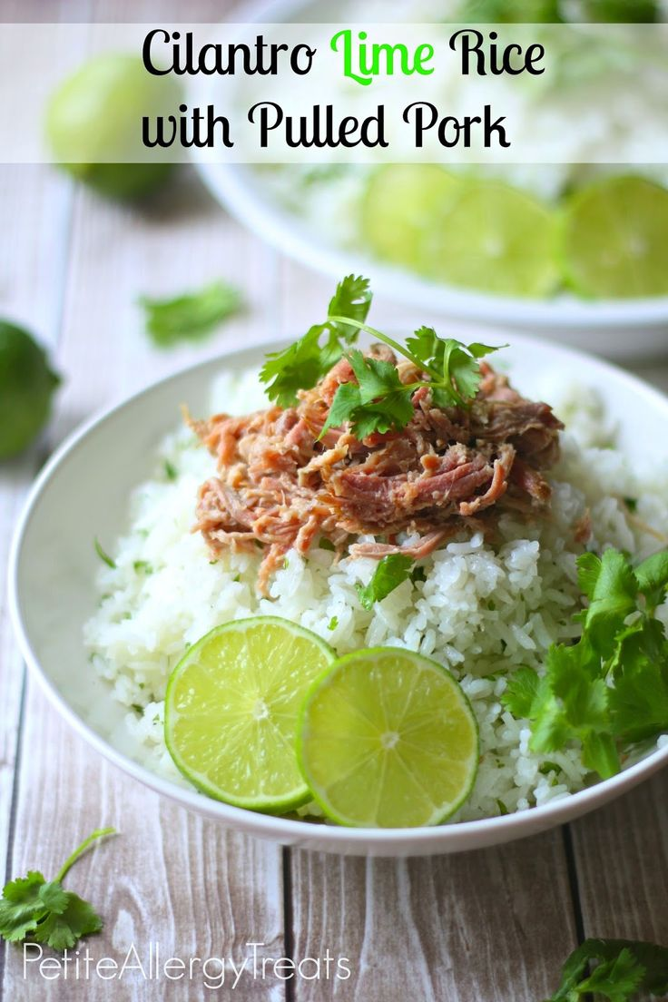 Cilantro Lime Rice with crockpot Pulled Pork