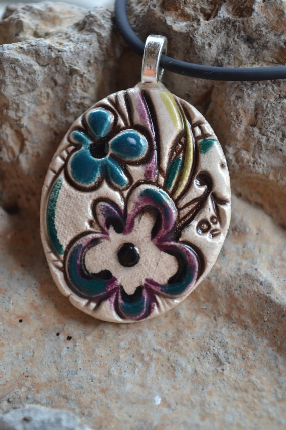 MUSICAL FLOWERS clay pendant by cherylstevensstudio on Etsy, $20.00: Flowers Clay, Music Flowers