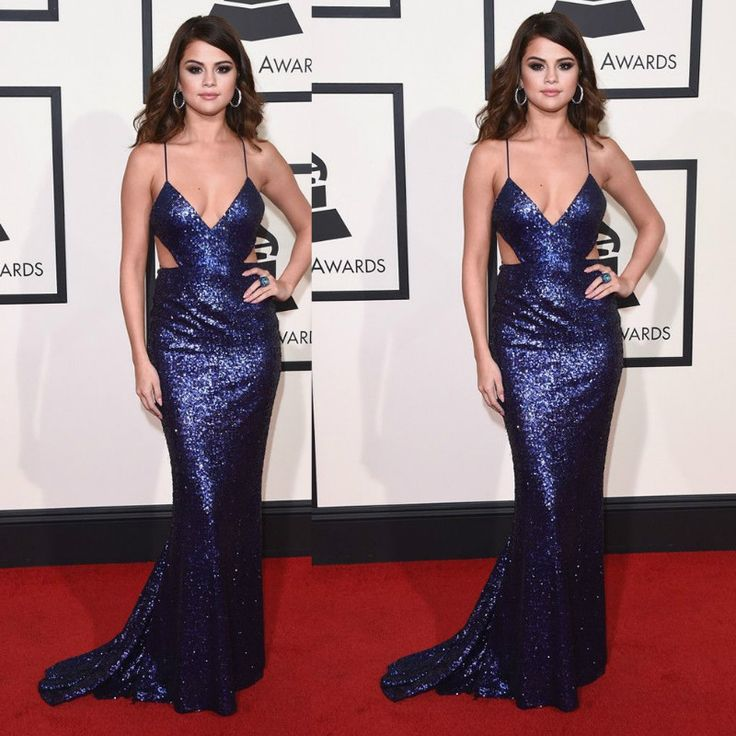 Find More Prom Dresses Information about Sexy Mermaid Blue Sequins Long Backless Prom Dress 2016 by Selena Gomez Celebrity Dress,High Quality dress white dress,China dresse Suppliers, Cheap dresses dress up games from Lulu Design on Aliexpress.com