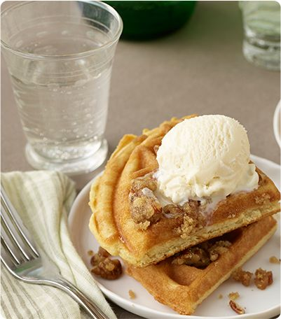 Praline Waffles a la Mode via Krusteaz.com. Amazing!!