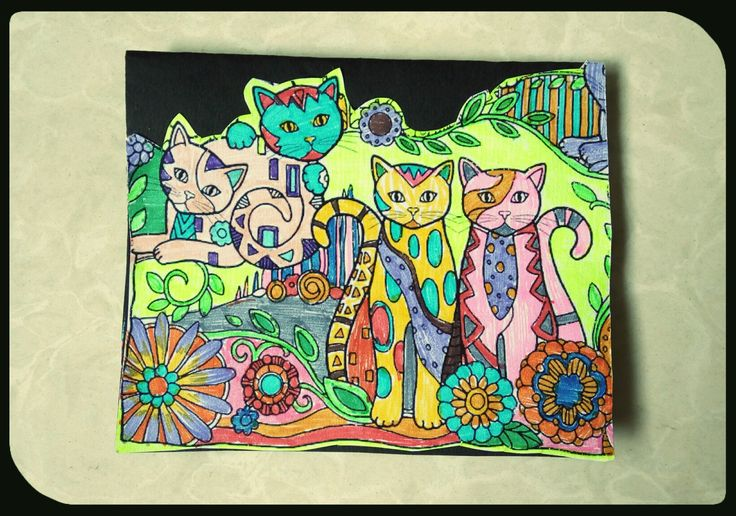 Handmade card #8: Doodle card ..nice to see so many colourful cats together... :)