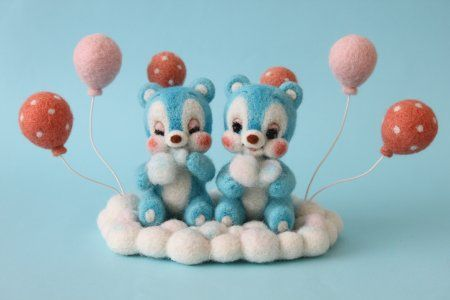 Bears in the sky   Needle felted teddy bears