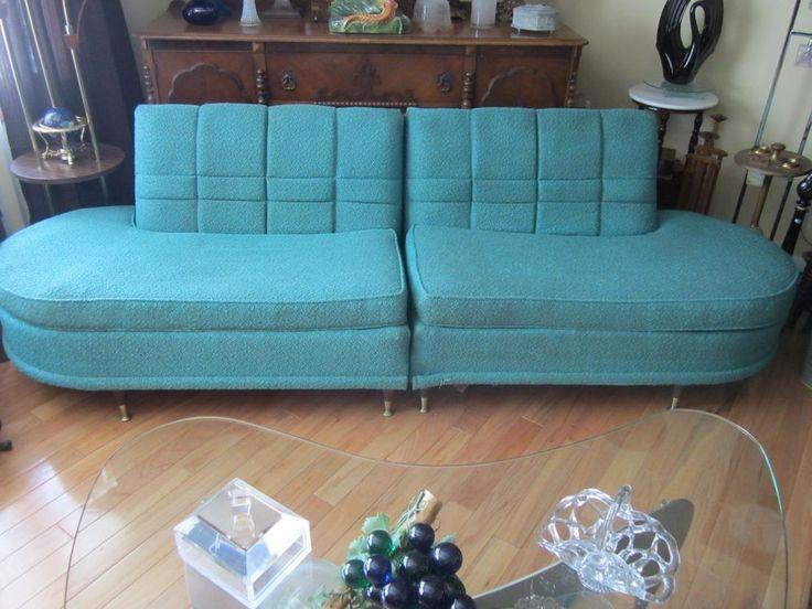 Charming Mid Century Modern KROEHLER Sectional Sofa Kagan Style Art Deco Retro  Turquoise | Sectional Sofa, Mid Century Modern And Mid Century