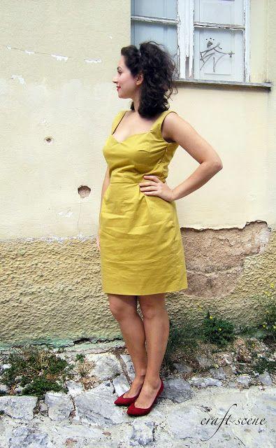 Mustard dress! Pattern: sweetheart dress from burda 04/2013