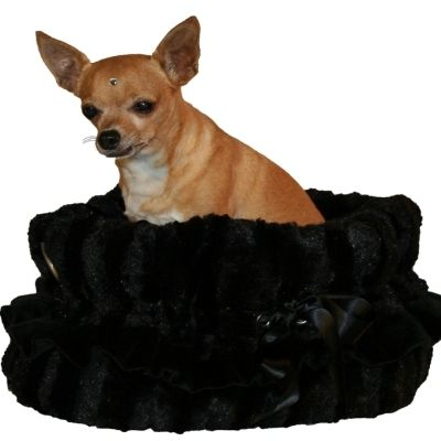 Black Wavy Dog Bed, Carrier, Car Seat Combo - $119.00