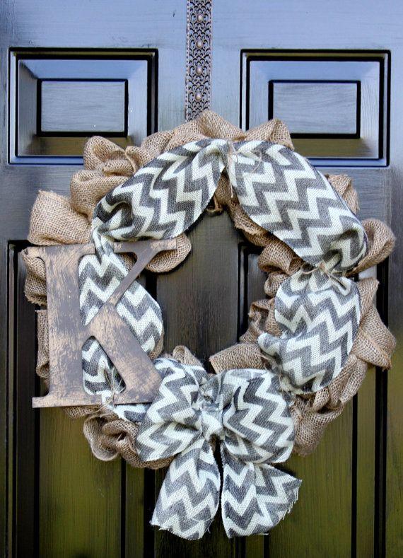 Chevron burlap wreath - Wreath for door - Summer Wreath - Spring Wreath - Home Decor -Gift idea