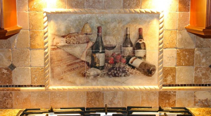 Charming kitchen backsplash mural tiles with country for Backsplash tile mural