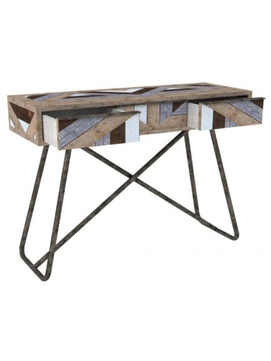 Rebel Console Unit in King Pin Brass and Mixed Reclaimed Pine Wood by United Strangers