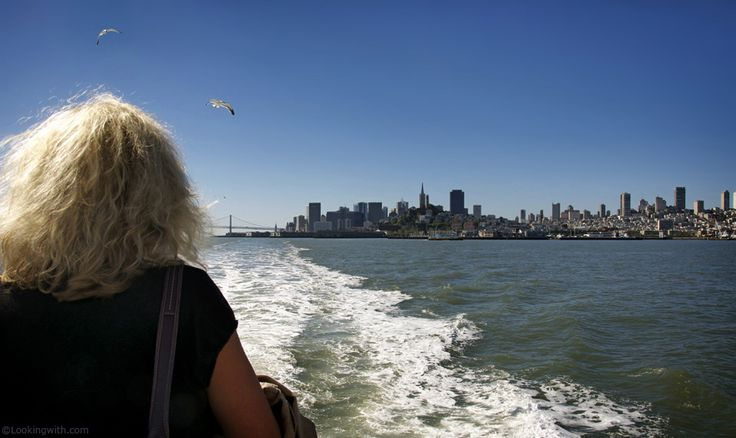 Looking With An East-european Lady  At San Francisco Skyline from Alcatraz ferry.  #LookingWith #SanFrancisco #CA #USA http://www.lookingwith.com/home/photo/107