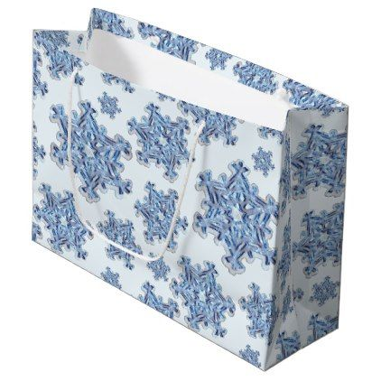 #Crystal Blue Snowflake Christmas Winter Yule Xmas Large Gift Bag - #Xmas #ChristmasEve Christmas Eve #Christmas #merry #xmas #family #kids #gifts #holidays #Santa