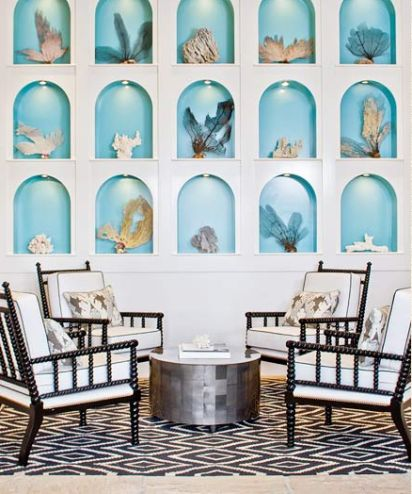 Love the turquoise detailing on the backDecor, Wall Niche, Coral, Beach House, Blue, Chairs, Interiors Design, Coastal Home, Wall Display