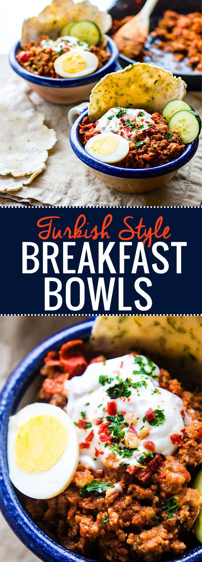 Grain Free Turkish Style Savory Breakfast Bowls. One pan is all you need to make these healthy savory breakfast bowls. Filled with spicy breakfast sausage, herbs, veggies, egg, and a tangy yogurt topping! Great for breakfast, brunch, or dinner. Perfect wi