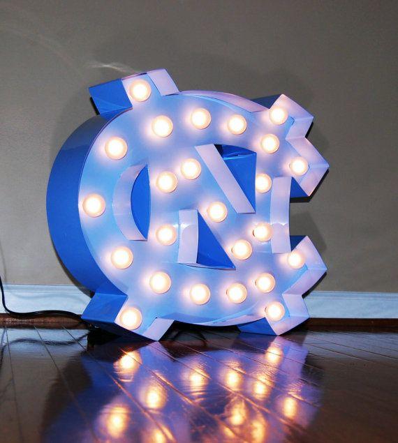 North Carolina College marquee light mancave UNC Tarheel fan  NCAA sport home decor decoration dorm office living room den loft garage patio backyard   North Carolina tarheel marquee sign by Collegehighlights on Etsy, $250.00