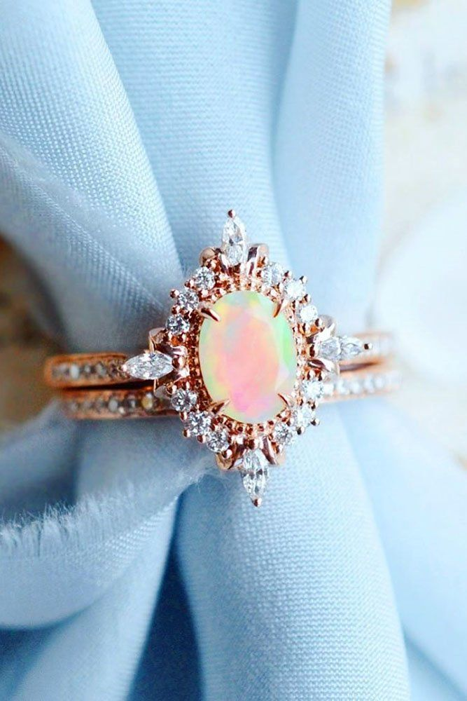Opal Engagement Rings For The Modern Brides Wedding Forward In 2020 Engagement Rings Opal Opal Wedding Ring Set Rose Gold Opal Ring