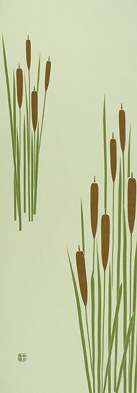 Japanese washcloth, Tenugui 蒲の穂 cattails