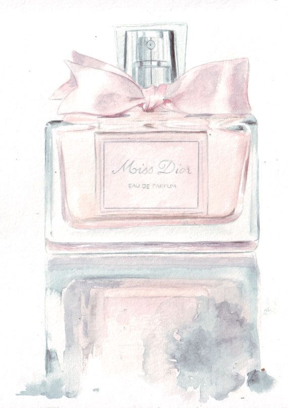 Original watercolor fashion illustration Miss Dior by HelgaMcL