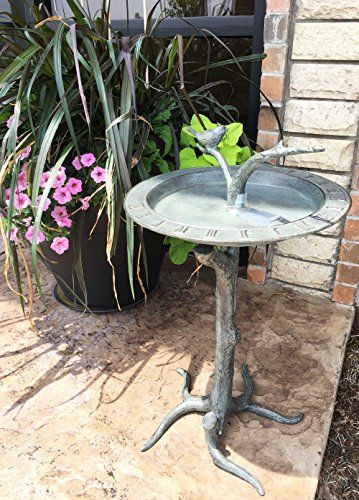"""Rustic Cottage Villa Bluebird Perching On Twig Bird Bath and Sundial Garden Decor Aluminum Statue For Pool Patio Decoration Functional Nature Outdoor Decor  Decorate your garden or poolside with this whimsical birdbath/feeder Sundial Statue. It is made of hardened aluminum construction safe for outdoor use. Bird Feeder measures 25.5"""" tall, 15.5"""" long and the base is 14"""" by 14"""". Check more at..."""