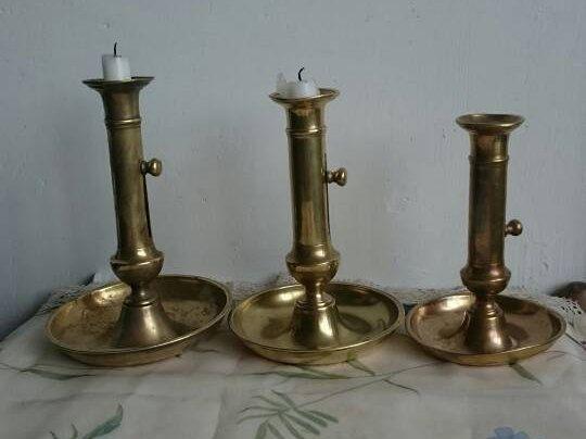 Candelieri d'ottone dell'annata, francese candelieri candelabri regolabile, non corrispondenti Trio