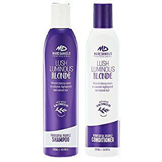 Powerful Purple Shampoo & Conditioner Set, Sulfate Free – Tones, Prevents, Balances Brassiness in Blonde, Color Treated, Silver, Grey Hair - Paraben Free, Vegan Friendly by MARC DANIELS Professional