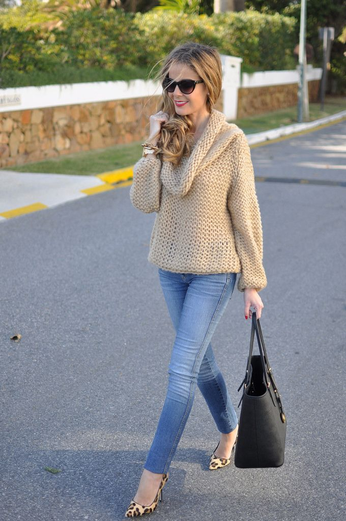 Fall / Winter - street chic style oversized camel sweater skinnies leopard  print stilettos and beautil sunglasses