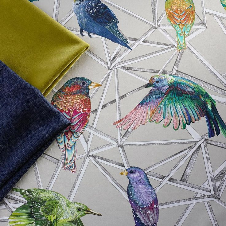 Aviary fabric and co-ordinating Velvets from our Spring 2017 collections #birds